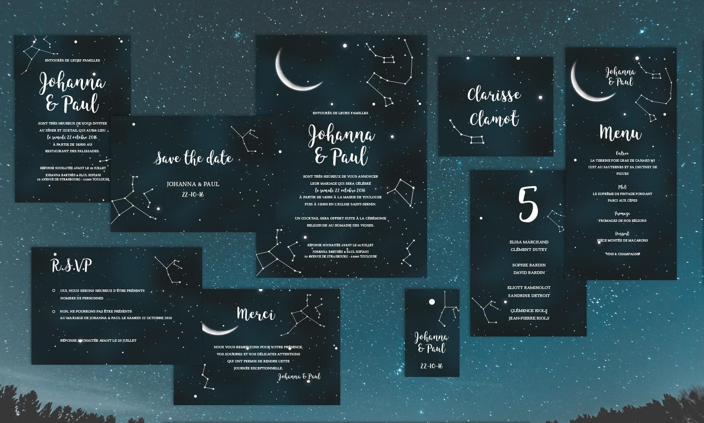 Faire-part de mariage constellations
